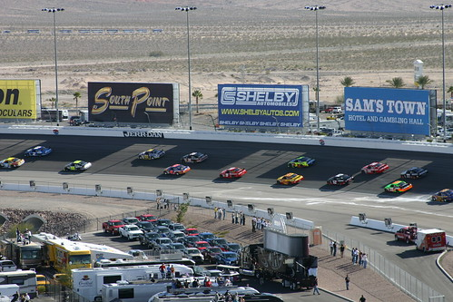 The field lines up behind the pace car...a shelby.