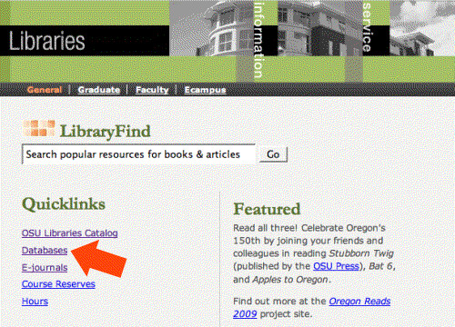 Databases link via the Quicklinks list on the library homepage