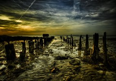 the sea of souls (stocks photography) Tags: light sunset shadow sea england sky copyright seaweed reflection wet water evening coast kent seaside sand mud jetty tide atmosphere stocks reflect angels posts whitstable hdr wispy lightroom winkles photomatix stocksphotography michaelmarsh foundanoyster theseaofsouls