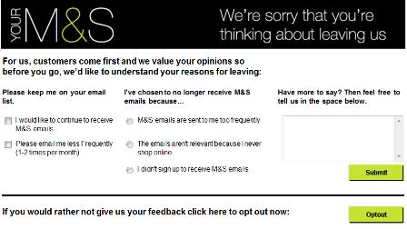 M&S unsubscribe page