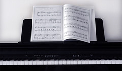 """""""I deconstruct my thoughts at this piano."""" (stacymagallon) Tags: music mannequin keys book keyboard stacy piano simplicity sheet jacks magallon"""