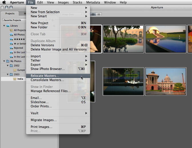 Select one, some or all images in the browser, then do a File > Relocate Masters from the menu