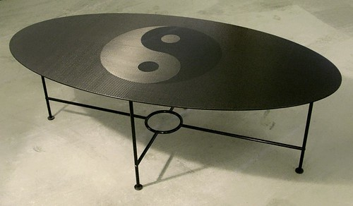 Carbon fiber Ying Yang coffee table as written about  on Carbon Fiber Gear dot Com