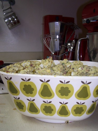 potato salad in my Orla Kiely bowl from Target