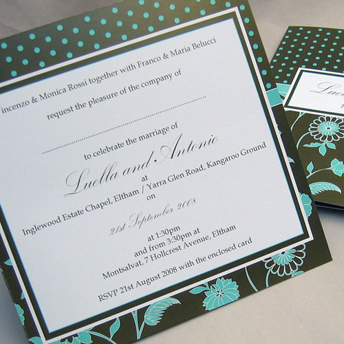 Florella chocolate mint wedding invitation from mini Moko, Florella mint Wedding invitation idea, wedding invitation sample, wedding invitation, flowers, photos