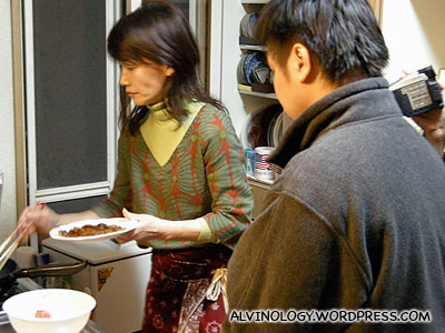 Cooking the wagyu beef