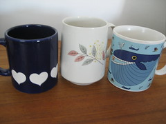 Lots of Mugs (krakencrafts) Tags: blue usa japan heart gmb franciscan westgermany californiapottery waechtersbach gladdingmcbean springsong taylorng whopperwhale