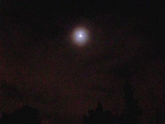 Easter Morning Moonlight Meditation Movie (Walker Dukes) Tags: sanfrancisco california light sky moon fog clouds dark circle bright cloudy mystical missiondistrict universe cosmos shimmering ringaroundthemoon