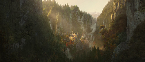 LotR-FotR matte painting by Wayne Haag