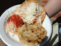 Pork Pupusa and a Fried Tortilla with Veggies