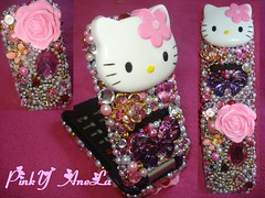 I made a Rose Hello Kitty Cell Phone!! (Pinky Anela) Tags: pink hk cute girly hellokitty sanrio kawaii deco gems dekoden japanesemjapan
