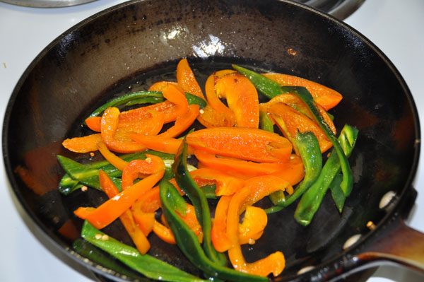orange bell and poblano pepper for roasted turkey sandwich on Denver sourdough