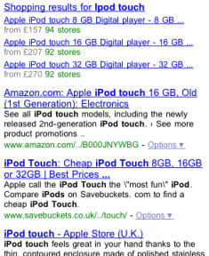 Google mobile product search