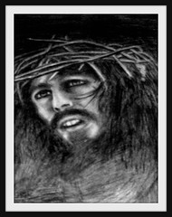 Head Of Jesus - Drawing by snc145 (1977) - Photo by snc145 (snc145) Tags: people art face pencil portraits beard christ god head religion jesus drawings thorns mustache 1977 capricorn artgalleryandmuseums memorycornerportraits stevenchateauneuf