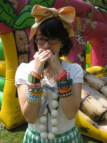 Bow (scarf tied on headband), Ralph Lauren; Ping pong necklace, DIY; misc bracelets from childhood/middle school/harajuku emo days