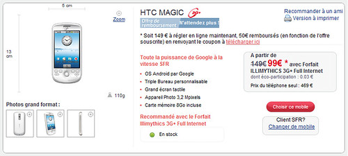 HTC Magic G2 chez SFR 1