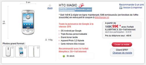 HTC Magic G2 chez SFR 1