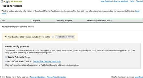 Google Ad Planner Publisher Center 1