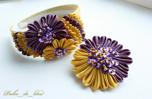 gold violet kanzashi set