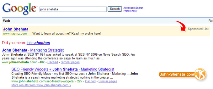 Naymz.com Placing PPC Ads for my Name on Google