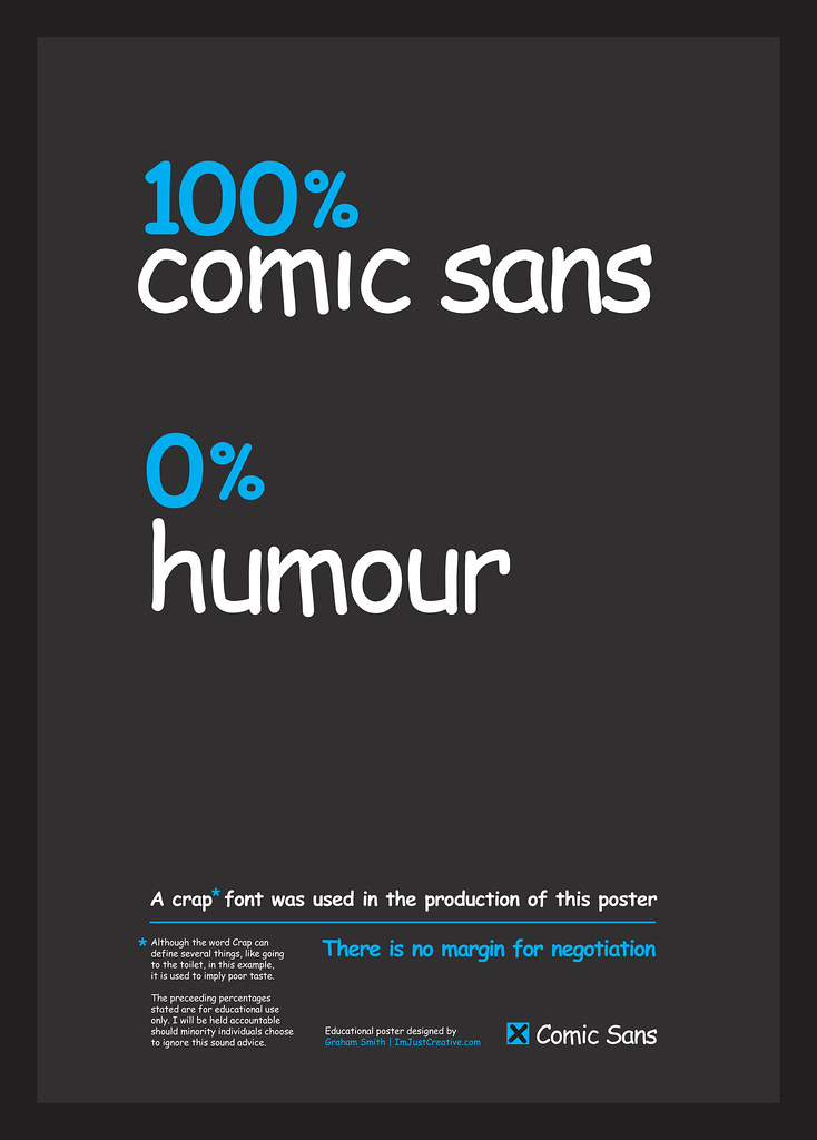 100% Comic Sans, 0% Humour Typographic Poster