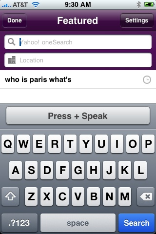 Yahoo Search Voice Search