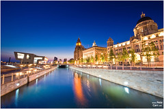 3 Graces and ferry terminal at dusk (petecarr) Tags: reflection liverpool dusk iconic pierhead ferryterminal 3graces canallink