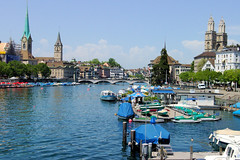 Zurich Overview (cwgoodroe) Tags: blue summer sun alps hot church grass switzerland boat europe suisse swiss mountaintown zurich sunny