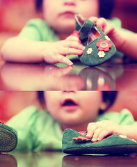Babies touch the world with love. (v3vo-- away.) Tags: flowers baby reflection cute green girl k hands nikon focus shoes hand lovely haya mashallah d80 nikond80 msvevo
