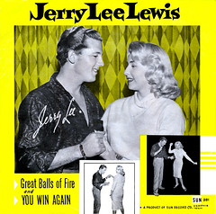 "Jerry Lee Lewis ""Great Balls of Fire"" record cover (newmexico51) Tags: woman man fifties florida memphis cover record 1957 jacksonville 20thcentury starlet 45rpm midcentury greatballsoffire jerryleelewis sunrecord janetsoloman sun281 youwinagain"