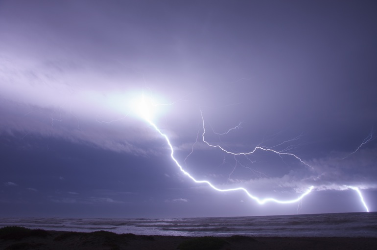 Intense lightning strike in Cocoa Beach