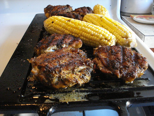 Chicken and corn on grill