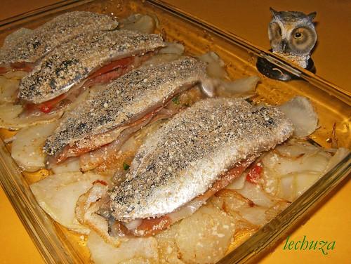 Sardinas rellenas-Pan rall. cerca
