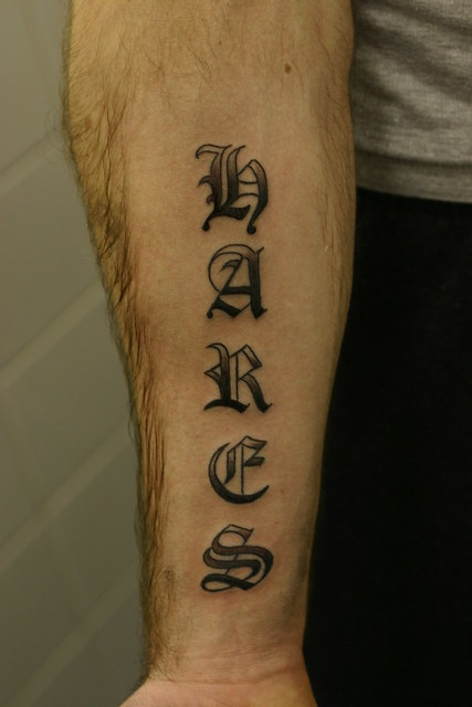 old english lettering shaded tattoo, forearm. Tattooed by Johnny at;