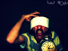 Time of Fear  (yusuf_alioglu) Tags: world life new portrait people selfportrait man art me face blackbackground darkroom self dark photography photo scary fantastic flickr peace photographer arm time earth fear watch tshirt personality panasonic human hour horror eyesclosed myroom mylife scaryface alarmclock fright oldtime 0117 myportrait newseries timeoffear terrify fantasticworld picasa3 panasonicdmcls80 yusufaliolu yusufalioglu tospreadterror unbornart eyescompletelyclosed mygrandfatherclo