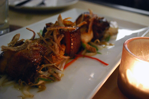 Sticky pork belly and Scallops