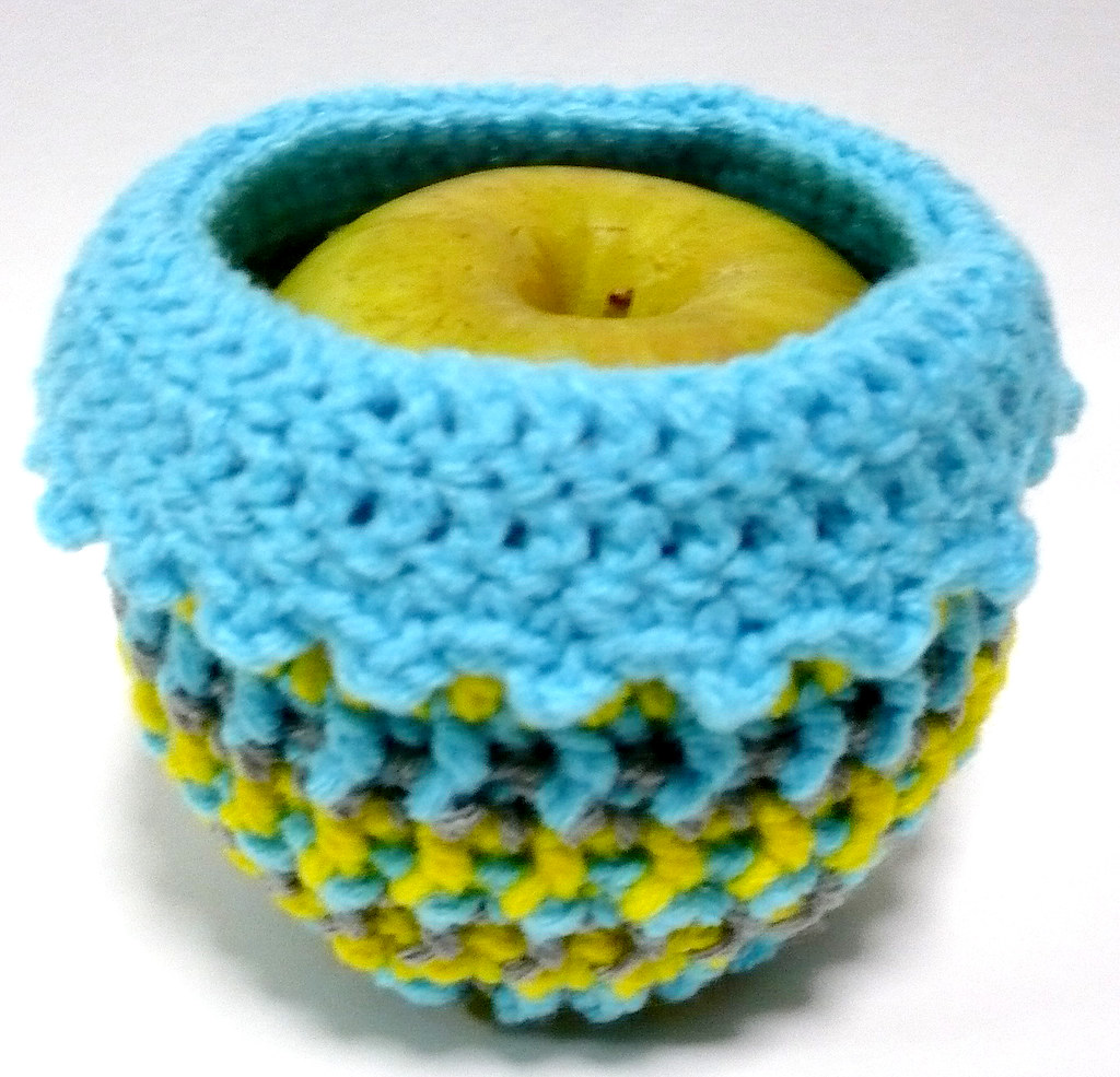 Crocheted Small Apple Cozy Sweater Wrapper Jacket - Turquoise Blue, Yellow and Grey