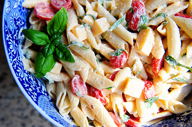 Spicy Pasta Salad with Smoked Gouda, Tomatoes, and Basil | The Pioneer ...
