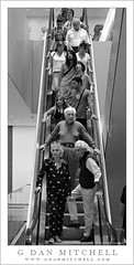 People on Descending Escalator, MoMA (G Dan Mitchell) Tags: street city newyorkcity urban blackandwhite usa newyork men art monochrome museum modern stairs women manhattan crowd escalator stock group steps down northamerica tall descend railing visitors narrow mouthopen