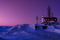 Point Betsie Lighthouse (Rick Teremi) Tags: lighthouse ice twilight michigan d800 nikond800 nikon24120f4 vision:sunset=0632 vision:sky=0977 vision:clouds=0864 vision:outdoor=0843