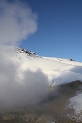 Hot and cold. (GuggaH) Tags: blue brown white cold ice fire warm kalt geothermal steem heitt hverasvi