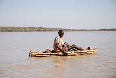Il Chamus (Njemps) Fisherman in traditional reed boat
