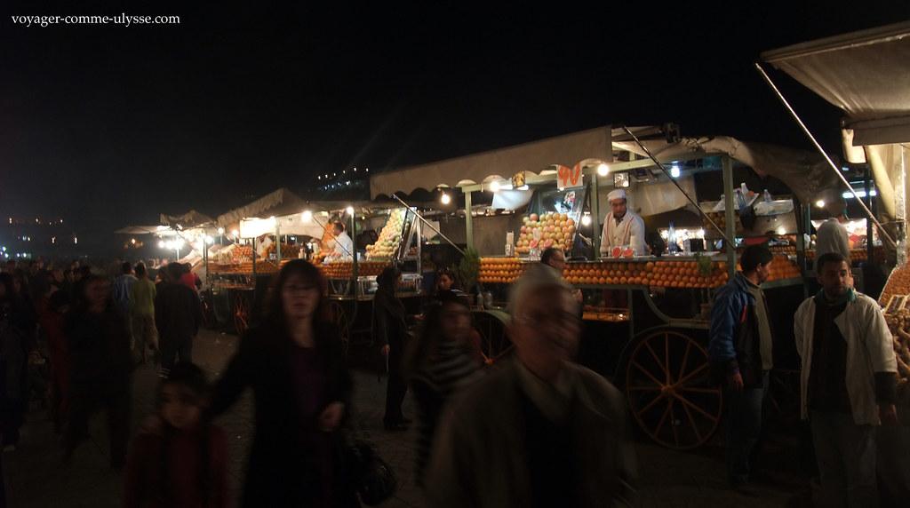 Vendedores de sumo de laranja