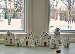 tiny houses painted (LolliePatchouli) Tags: houses watercolor paste tiny gesso papermache