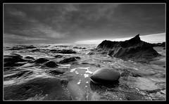 Alien Planet (Joe Rainbow) Tags: sea bw panorama beach wow landscape rocks cornwall wide geology