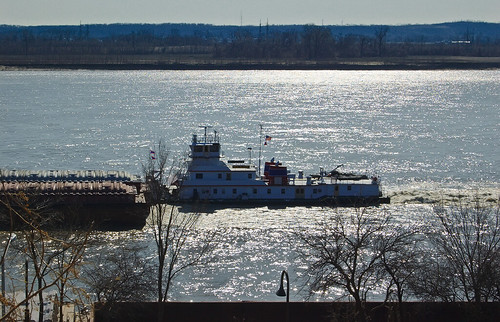Tugboat on the Mississipi River, from Carondelet Park, in Saint Louis, Missouri, USA