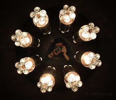 (Ole Lukoie) Tags: camera light portrait selfportrait macro me lamp girl lights 1 mirror image x chandelier  beautifulgirl           abigfave    aktaugirl macrochandelier