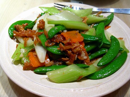 Stirfried greens with crispy cuttlefish