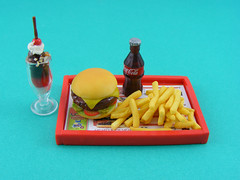 Junk Food (Shay Aaron) Tags: food house soup miniature doll fake frenchfries sandwich chips mcdonalds polymerclay cheeseburger icecream hamburger meal noodles tray cocacola veggies dollhouse