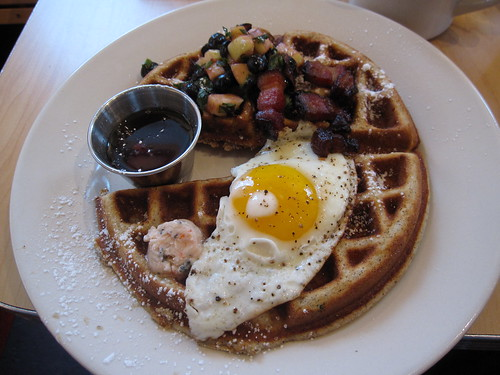 Bacon Buckwheat Waffles (With fried Egg)